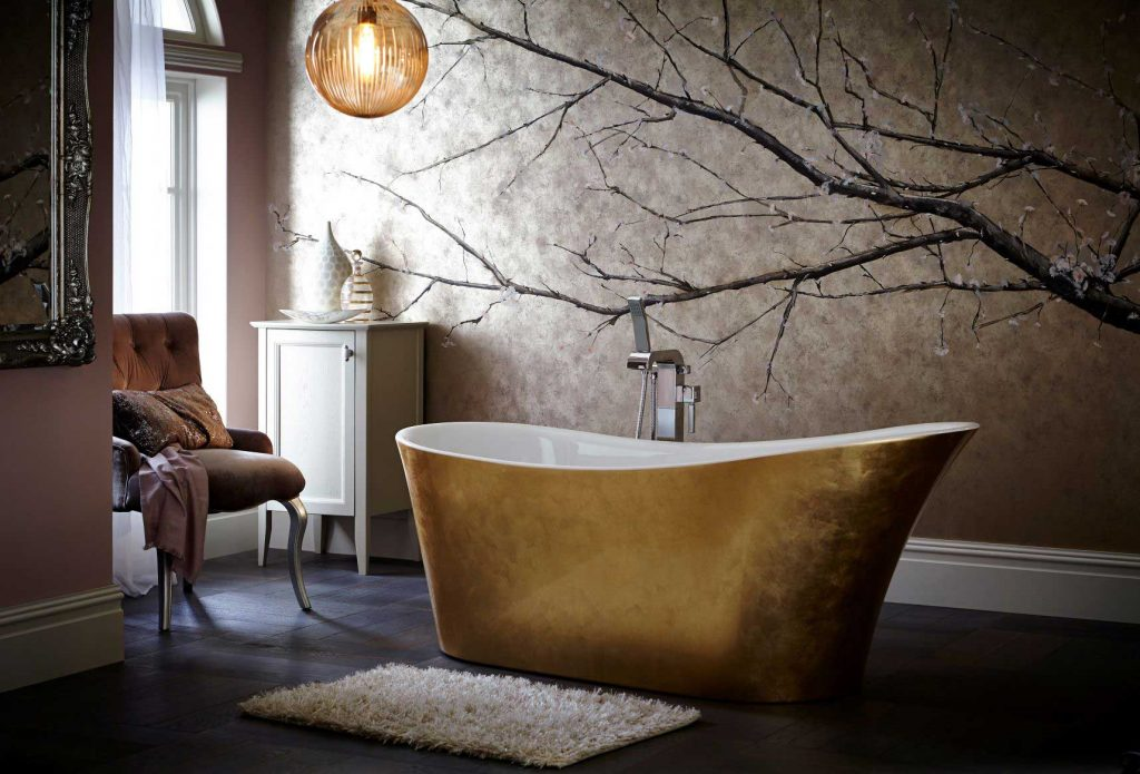 Holywell-Metallic-Effect-Acrylic-Bath-in-Gold-landscape - bathroom southampton