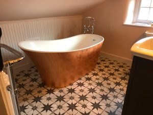 patterned floor tiles - bathroom showroom hampshire